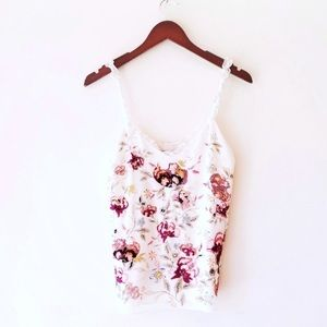 White House Black Market / Embroidered Floral Cami